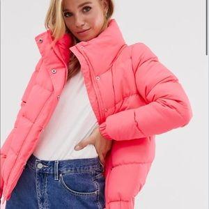 Brave soul NEON slay cropped padded coat size M